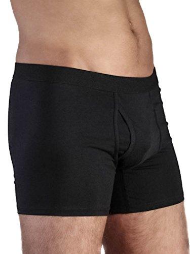 Herren Boxershorts mit Eingriff Bio-Baumwolle GOTS Unterhose Unterwäsche (M-50 schwarz)