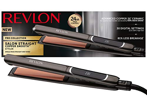 Plancha de cabello de 25 mm, RVST2175 Revlon Pro Collection Salon Straight XL Copper