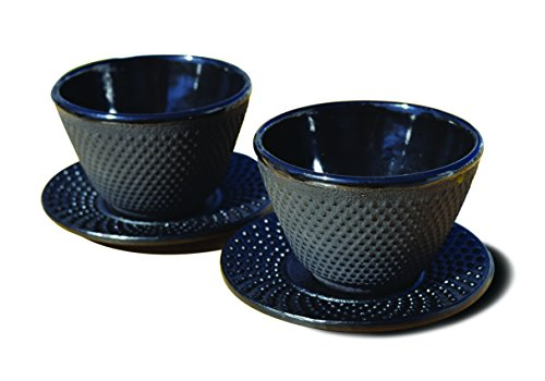 Old Dutch International Black Tea Cups & Saucers, Set of 2 MATTE BLK CUP/SAUCER CAST IRON-4 OZ