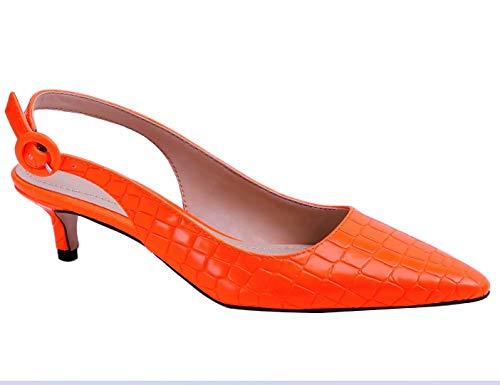 Greatonu Womens Low Heel Pumps Slingback Dress Shoes (10 US, Orange)