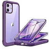 Miracase 360 Grad Hülle Kompatibel mit iPhone 12/12 Pro (6.1 Zoll), Ganzkörper Schutzhülle mit eingebauter Glas Bildschirmschutzfolie, Stoßfeste Fullbody Handyhülle, Lila