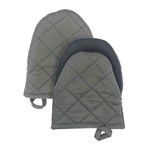 Qulable Neoprene Mini Oven Mitts, 2 Pack Extreme Heat Resistant Little Oven Gloves Potholder Short Oven Mitt Trivet for Kitchen Cooking BBQ, Non-Slip Grip, Hanging Loop, 6.88 x 5.31 Inches