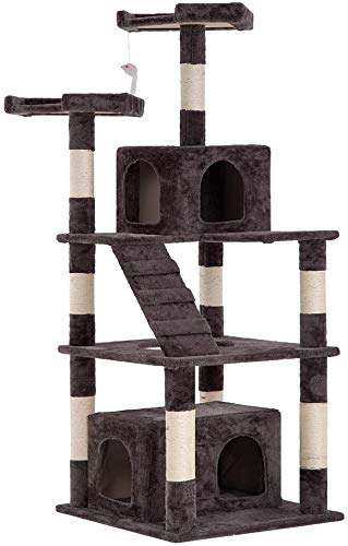 "BestPet Cat Tree Tower Condo Multi-Level Kitten Plush Indoor Cat Playground with Toy and Scratching Post,64"" (Gray)"