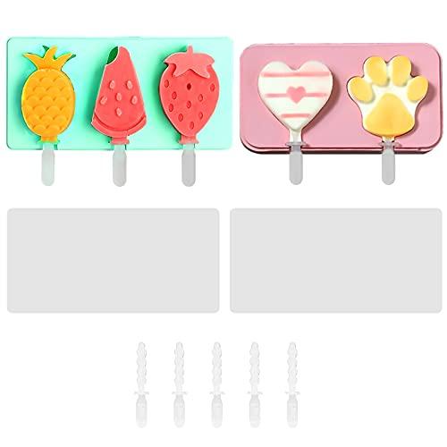 2 moldes de silicona de grado alimenticio para helados reutilizables con palillos y tapas reutilizables