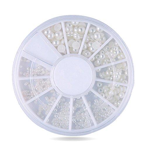 SUPVOX - Perlas de uñas NAI Art cabujón de Perlas para decoración de uñas, 200 Unidades, 2 mm/3 mm (Blanco)