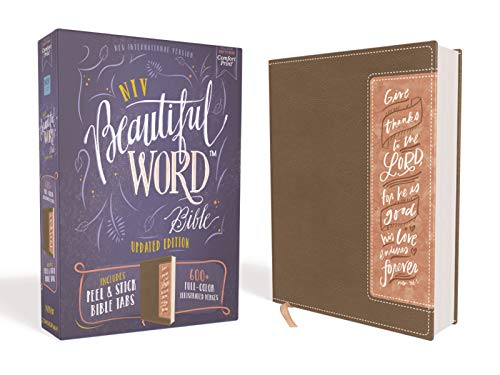 NIV, Beautiful Word Bible, Updated Edition, Peel/Stick Bible Tabs, Leathersoft, Brown/Pink, Red Letter, Comfort Print: 600+ Full-Color Illustrated Verses