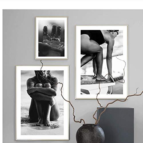 Arte de pared Pintura en lienzo Playa Tabla de surf Mujer Nadar Figura curva Carteles nórdicos e impresiones Imágenes de pared para decoración de sala de estar-30x40 30x60cmx2 Sin marco