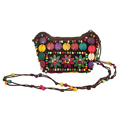 Bunte Hippie Blumen Handtasche mit Perlen - 17 x 12 cm - Umhängetasche zum Retro 60er 70er Jahre...