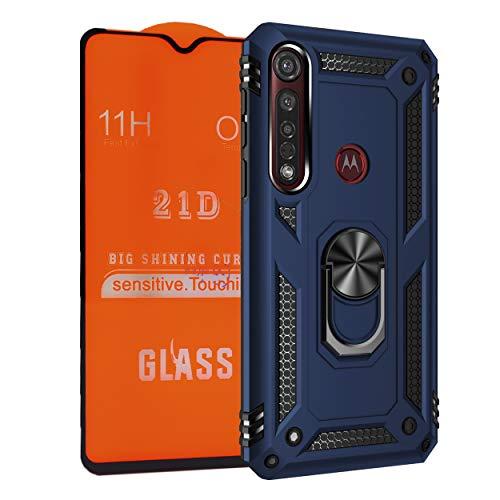 NETONBOX.COM Funda Anillo Uso Rudo Moto G8 Plus Antishock Holder Case + Mica Cristal Templado 21D 11H 0.33 mm Full Screen Cover Full Glue (Color Azul Marino)