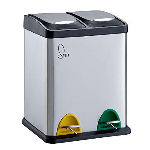 SVITA TC2X8 Küchen-Eimer 16 Liter 2x8L Edelstahl doppelt Abfalleimer kompakt 2er-Mülleimer Mülltrennung Treteimer