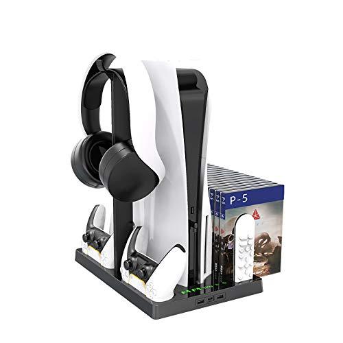 TPFOON Supporto Verticale per Sony PS5 Digital Edition / PS5 Ultra HD, con ventola di raffreddamento e Doppia Stazione di Ricarica per Controller PS5, 15 Slots per Giochi e supporto per Cuffie