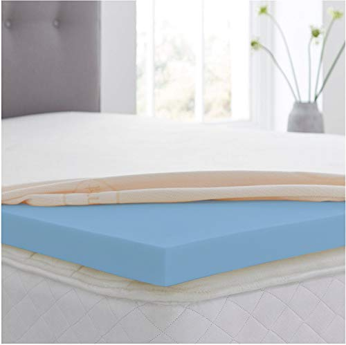 Revive Direct Cool Blue 4' King Size Memory Foam Mattress Topper with a Washable Zip Cover - (5ft King 150cm x 200cm)