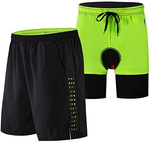 Culotte Ciclismo Hombre,Impermeable Culotes Ciclismo Hombre, Acolchado Transpirable Cómodo Pantalones Cortos de Ciclismo,para Correr Deportes al Aire Libre Pantalon Mountain Bi(Size:XXL,Color:Negro)