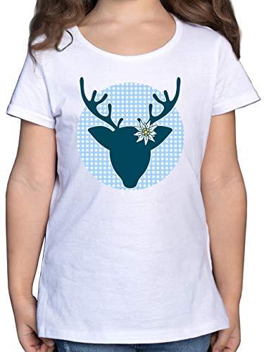 Oktoberfest & Wiesn Kind - Oktoberfest Hirsch mit Edelweiß - blau - 140 (9/11 Jahre) - Weiß - Edelweiss - F131K - Mädchen Kinder T-Shirt
