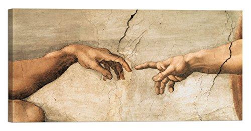 Michelangelo Buonarroti Die Erschaffung Adams 120x 60cm Rahmen Druck auf Leinwand mit Rahmen aus Holz