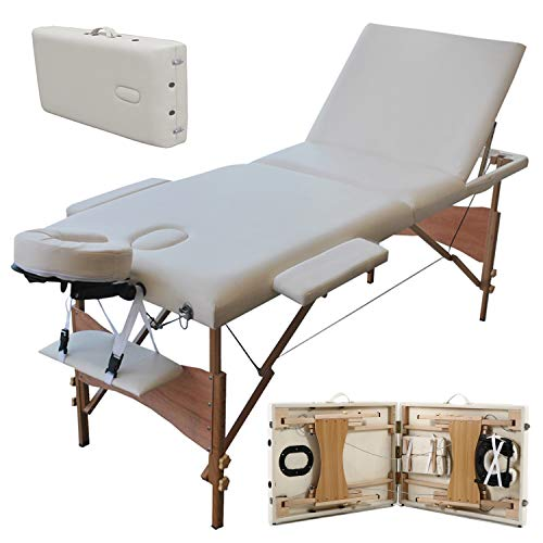 Draagbare Massage Tafel, Lichtgewicht Vouwen Facial SPA Bed Tattoo Beauty Therapy Bank Bed W/Draagtas Beige Houten 3 Sectie