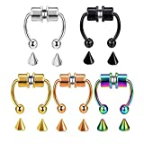 ZHQI Fake Nose Ring Hoop Magnetic Septum Nose Ring Horseshoe Stainless Steel Faux Fake Nose Septum Rings Non-Pierced Clip On Nose Hoop Rings (D-5pcs Colors)