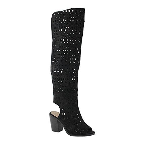 YOKI Damen Nanno-25 Mode-Stiefel, schwarz, 37.5 EU
