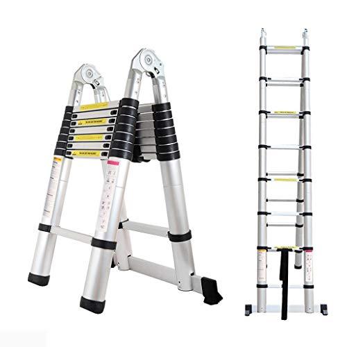 xgfqb Escalera Extensible de Aluminio, 3,2 m, Ultraligera, Plegable, 11 escalones, para Multifuncional, Antideslizante con certificación EN131, Escalera de Aluminio con Marco en A de 5 m