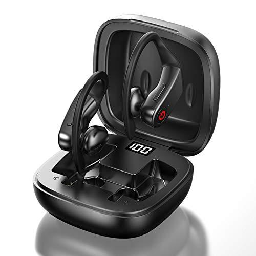 SUN JUNWEI Auriculares Inalámbricos Bluetooth con Método De Carga USB C con Pantalla Digital Auriculares Impermeables Inalámbricos con Reducción De Ruido CVC8.0 para Deporte Y Trabajo