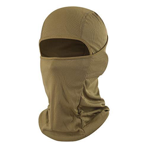 hikevalley Balaclava Face Mask Adjustable Windproof UV Protection Hood (Brown)