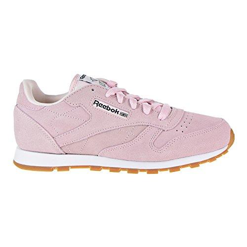 Reebok Classic Leather Pastels Shoe - Junior's Running 5 Porcelain Pink/Classic White/Coal/Gum