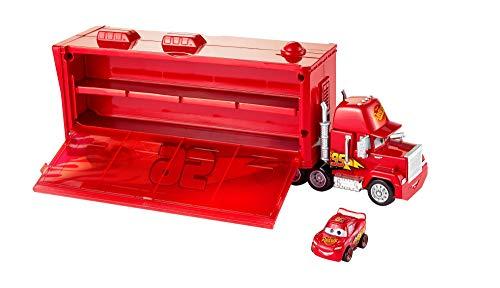 Disney Cars Mack Trasportatore, Macchinina Saetta Mcqueen Inclusa, Può Contenere fino a 16 Mini Racers, Giocattolo per Bambini 4 + Anni, FLG70