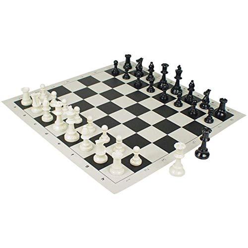 Juego de ajedrez, Piezas de ajedrez Hechas a Mano, Tablero de ajedrez Enrollable de 20 Pulgadas, Juegos de Tablero de ajedrez de Viaje portátiles, Piezas de plástico de bonificación con bols