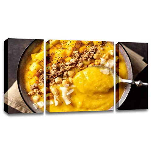 CCArtist Close up of Mango Smoothie Bowl with Spoon Wall Decor Print on Canvas Modern Artwork Living Room Bedroom Painting Art Wall