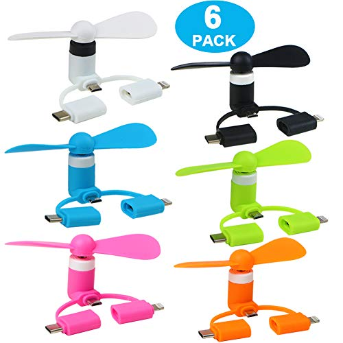 AIFENTE Portable Mini iPhone Fan Plug in Fan 3 in 1 Mini USB Fan for iPhone/IPad and Android Smartphone/Tablet 6PCS Mini Fans Plug in Mobile Cooler (6pcs)