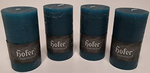Hofer 4 Stück Stumpenkerzen Rustik 70x130mm durchgefärbt Farbe Petrol