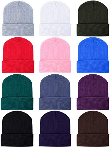 Zhanmai 12 Pieces Knit Hat Beanie Hats Warm Cozy Knitted Cuffed Skull Cap for Adults Kids, Multicolor