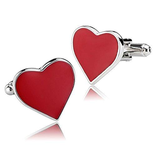 Aeici Herren Manschettenknöpfe Schmuck Romance Deep Love Herzförmiger Ausdruck 1.5X1.8Cm