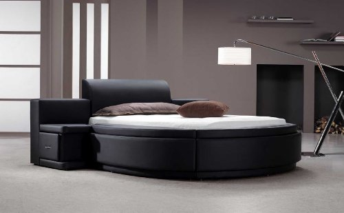 Vig Furniture Owen Black Leather Round Bed with Storage
