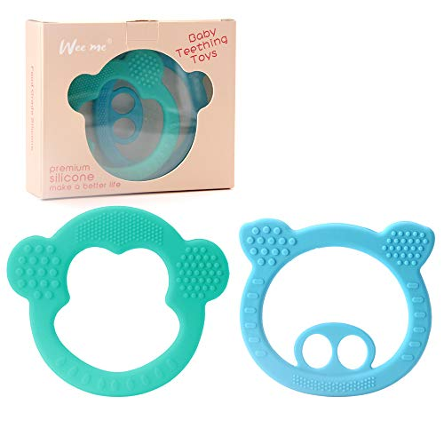 Soft Silicone Baby Teething Toys  BPA Free Silicone Teether Easy to HoldPain Relief Teether Toys Best Baby Shower Gift 2 Pack