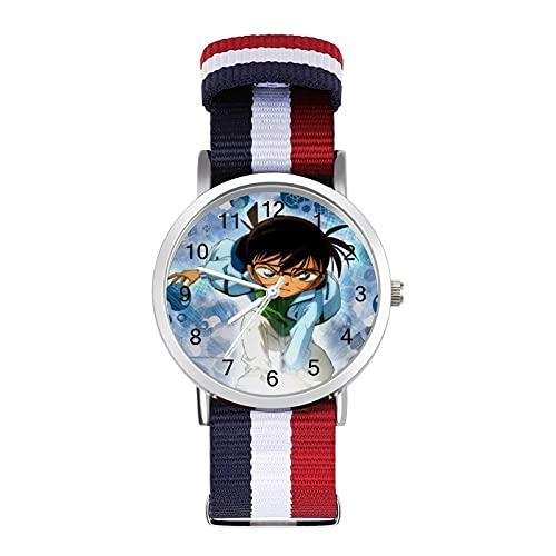 Detective ConanBraided - Reloj de pulsera ajustable con escala para negocios, banda de impresión a color, adecuado tanto para hombres como para mujeres