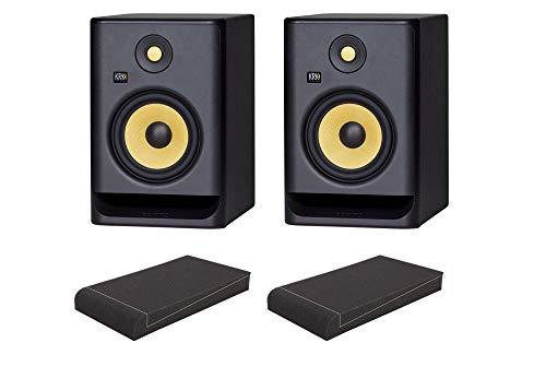 KRK ROKIT RP7 G4 ISO-Stand Set (aktives Studiomonitor Paar, 2-Wege, bi-Amp, 6,5 Zoll, 145 Watt inkl. ein Paar Absorberplatten) Schwarz