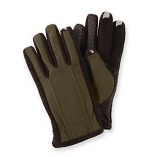 Isotoner Smart Touch Mens Khaki Green Touchscreen Gloves for Texting & IPhones L