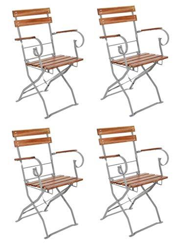 LINDER 4er Set Biergartenstuhl Gartenstuhl mit Armlehnen klappbar Akazie