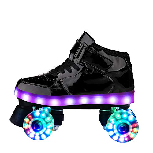 Longxs Quad Rollschuhe Roller Skate, Eisbahn professionelle Coole LED blinkende Rollschuhe Zweireihige Rollschuhe Erwachsenensport für Mädchen und Jungen-38