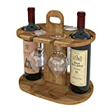 2 Bottle Wine Rack Stand, Rustic Farmhouse Wood Wine Carrier Bottle Holder, Free Standing Countertop Wine Storage Crate for Kitchen Bar Basement Cabinet Pantry
