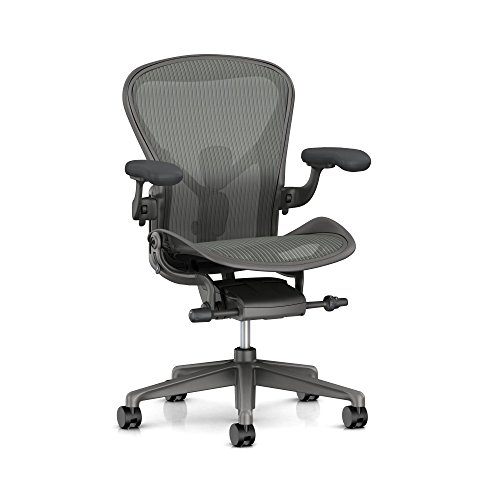 Herman Miller Aeron Ergonomic Office Chair with Tilt Limiter and Seat Angle | Adjustable PostureFit SL, Arms, and Carpet Casters | Medium Size B with Carbon Finish