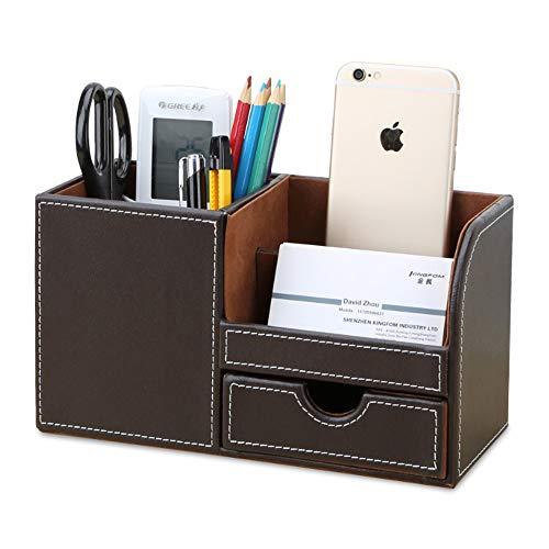 KINGFOM Büro Schreibtisch Organizer Ordnungssystem 4 Speicherabteil PU Leder Stiftebox Stifteköcher Bürobedarf (Braun)