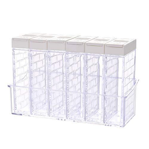 Caja de almacenamiento para cocina, almuerzo, bolsa de almacenamiento, bolsa de almacenamiento de alimentos y 6 en 1 botes de especias, salero y azúcar, caja de almacenamiento transparente para condimentos, blanco, HY