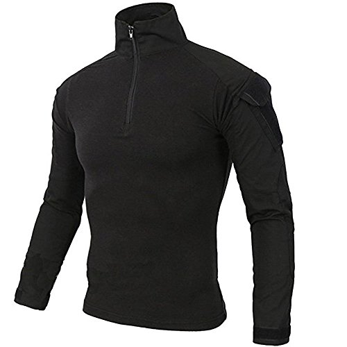 """LiliChan Tactical Shirts for Men Long Sleeve Military Shirt Outdoor Shirt Tactical Combat Shirt with Zipper (Black, US L(fit Chest:38""""-41""""))"""