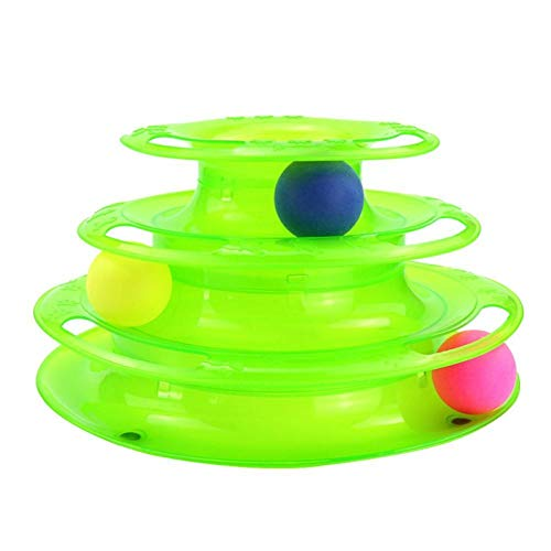 YanFan Pet Toy Cat Turntable Three-Layer Track Puzzle Whirling Turntable Play Game Cat Toys Interactive Pet Kitten Toys