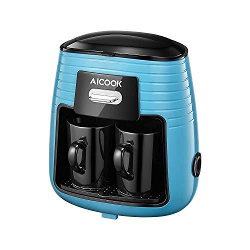 Aicook - Mini macchina da caffè con filtro one-touch con 2 tazze in ceramica, macchina da caffè a goccia, filtro riutilizzabile per caffè e tè, antigoccia e mantenimento al caldo, blu