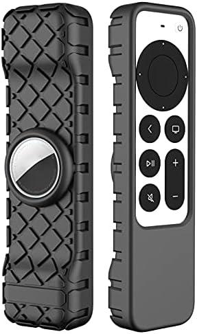 BJJH Outdoor Afstandsbediening hoes voor Apple TV 4K Siri Remote 2021 siliconen lichte antislip schokbestendige beschermhoes slim case cover voor AirTag Anti Lost Apparaat Accessoires
