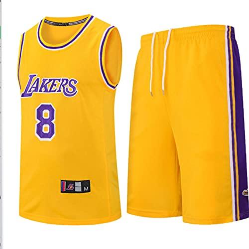 Wsaman Hombres Jersey Baloncesto, Jersey Transpirable y de Secado rápido, Jersey # 8 Baloncesto Jersey Bordado Fan,#8 Camiseta de Jugador de Baloncesto para Hombres,Amarillo,M