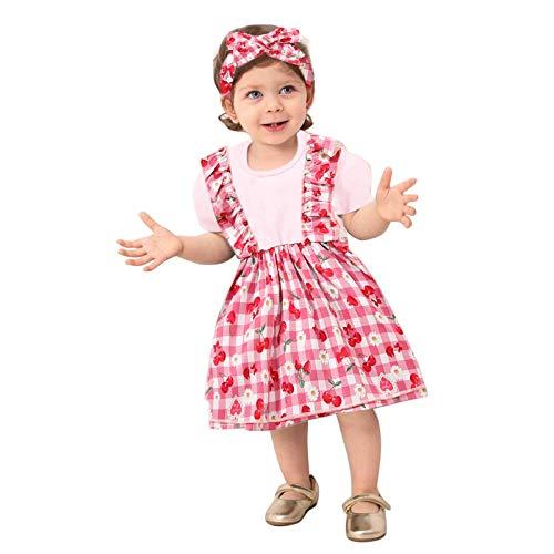 Pistazie - Conjunto de ropa para niña de algodón y lino de manga larga con falda con volantes, rayas de algodón cortas de verano rosa Large